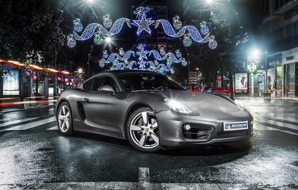 Picture Porsche, Cayman, front, silvery, Michelin, 981C