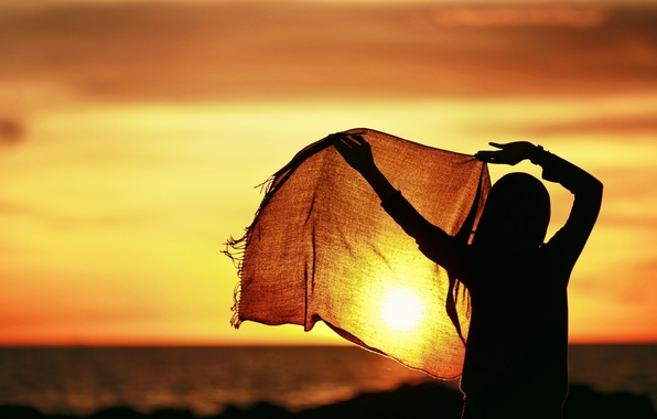 Picture the sky, girl, the sun, sunset, background, movement, widescreen, Wallpaper, mood, calm, silence, hands, scarf, …