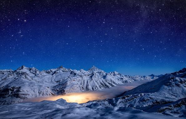 Picture light, sky, night, winter, snow, stars, Pennine Alps, Gornergrad, Gorner Glacier, Zermatt. Switzerland, lagoon nebula