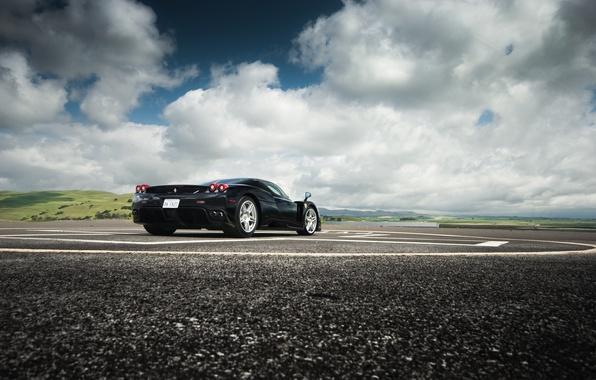 Picture the sky, clouds, black, hills, ferrari, Ferrari, black, enzo, Enzo