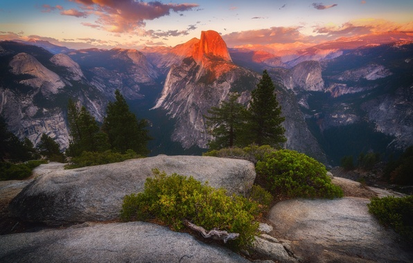 Picture forest, light, mountains, morning, peak, skacat