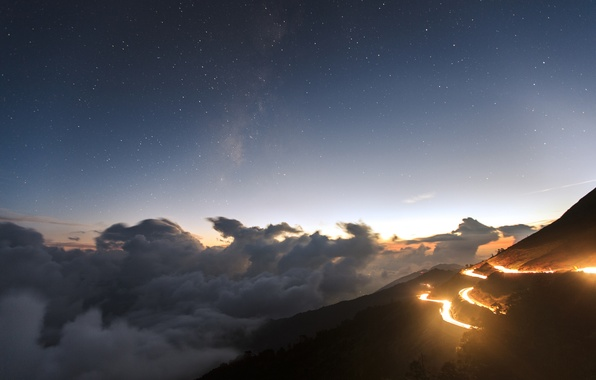 Picture road, stars, clouds, lights, hills, view, the evening