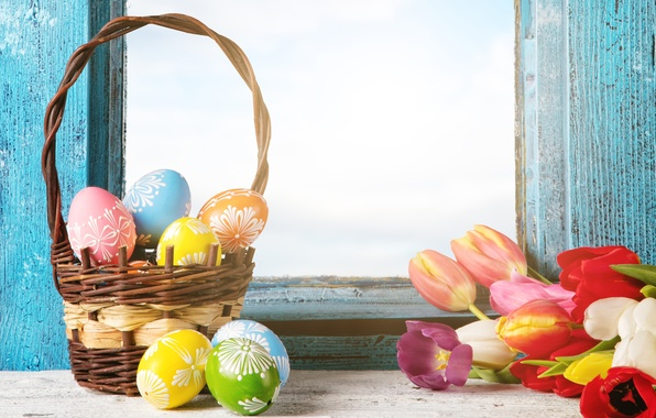 Picture flowers, eggs, spring, window, Easter, tulips, flowers, tulips, spring, Easter, eggs, decoration, basket, Happy