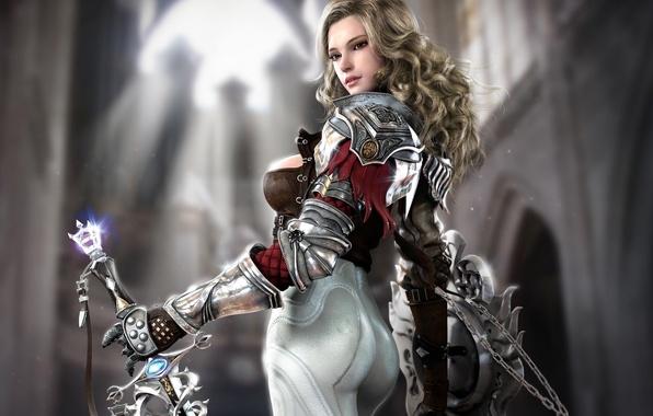 Picture girl, sword, fantasy, art, temple, shield