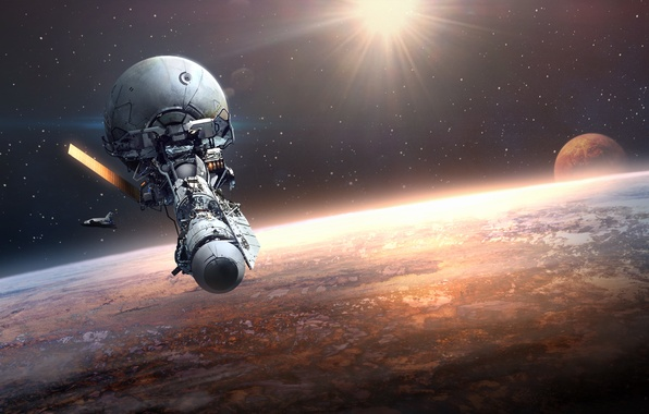 Picture space, fiction, planet, orbit, space station, Orbital Station