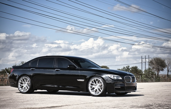 Picture the sky, clouds, BMW, BMW, black, black, 7 Series, 360 three sixty forged, high-voltage wires