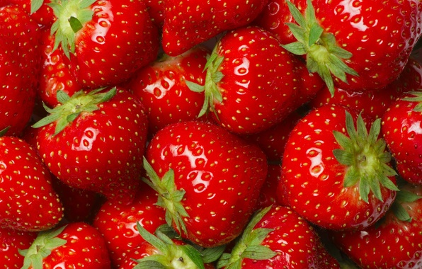 Picture macro, berries, strawberry, red, a lot