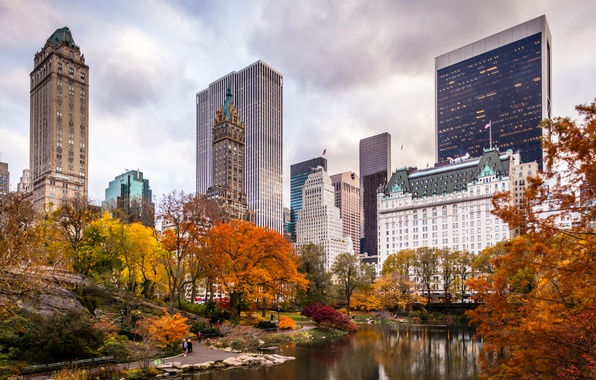 Picture autumn, the city, Park, skyscrapers, USA, America, USA, New York City, new York
