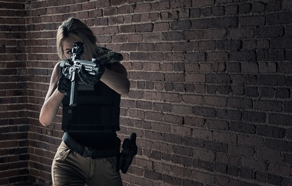 Picture girl, face, weapons, background, assault rifle