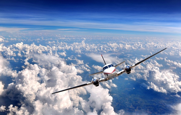 Picture the sky, clouds, the plane, the rise, engines, airplane, Over clouds