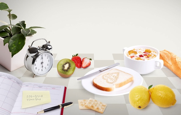 Picture flower, table, Breakfast, morning, kiwi, milk, alarm clock, strawberry, plate, bread, handle, knife, Cup, crackers, …