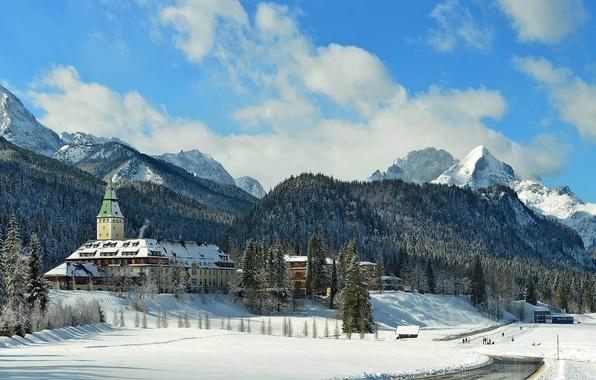 Picture winter, snow, trees, mountains, Germany, Bayern, KRUN, castle ELMAU, Garmisch-Partenkirchen
