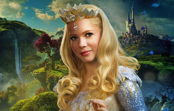 Picture trees, landscape, castle, rocks, waterfall, crown, fantasy, blonde, sorceress, poster, Michelle Williams, Oz the Great …