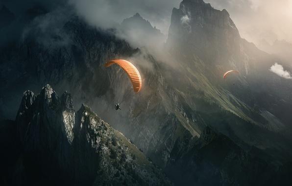 Picture light, flight, mountains, nature, fog, rocks, sport, parachute, skydivers