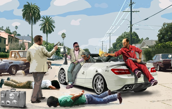 Photo Wallpaper Chop Michael Trevor Phillips Grand Theft Auto V Franklin Clinton