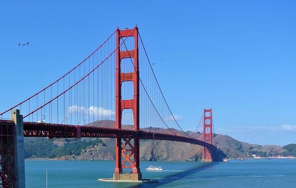 Picture the sky, bridge, ship, Bay, San Francisco, Golden Gate