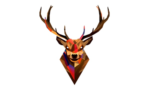 Picture animals, abstraction, graphics, color, deer, horns