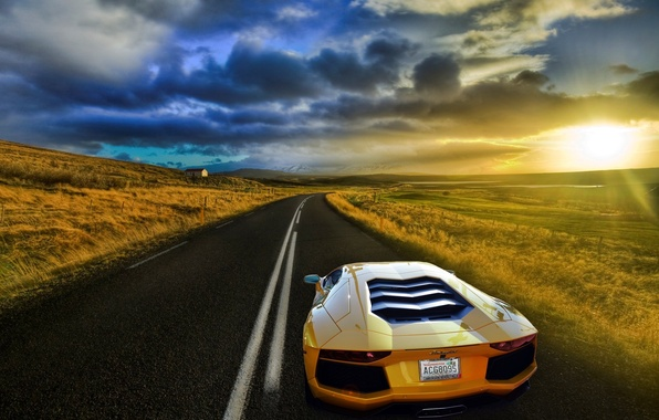 Picture road, field, the sky, the sun, yellow, Lamborghini, Lamborghini, Blik, yellow, Lamborghini, LP700-4, Aventador, Aventador, …