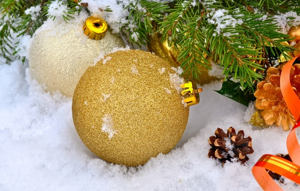 Picture winter, snow, holiday, balls, new year, spruce, branch, bumps