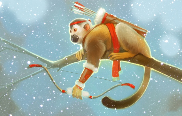 Picture winter, snow, branch, bow, monkey, arrows, art