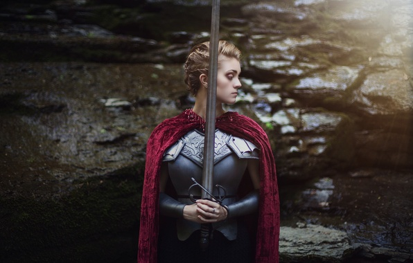 Picture girl, face, background, hair, sword, armor, cloak
