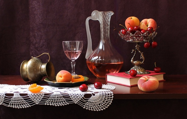 Picture vase, table, decanter, peaches, book, still life, fruit, cherry