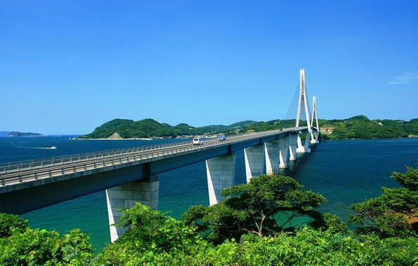 Picture sea, greens, the sky, trees, mountains, bridge, nature, the city, river, plants, dal, blue, country