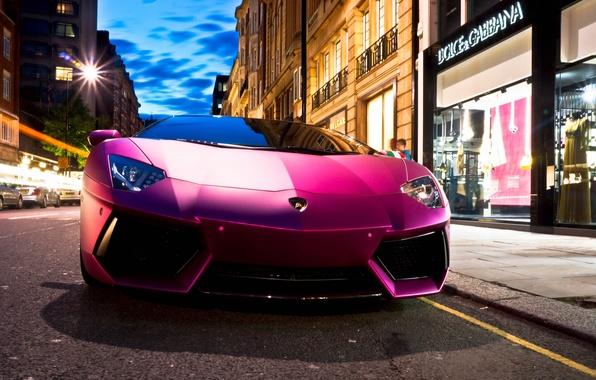 Picture auto, street, Lamborghini, supercar, shop, Aventador, purple, LP760-4, Dolce & Gabbana, Oakley Design