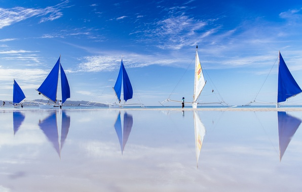 Picture sea, reflection, boats, Philippines, Philippines, Boracay, Boracay, paraw