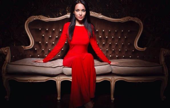 Picture girl, sofa, interior, pillow, figure, dress, brunette, beautiful, sitting, in red, lady, beauty, chic, lady, …