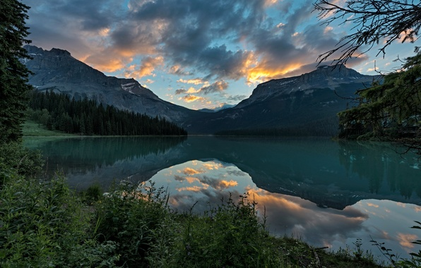 Picture forest, the sky, clouds, landscape, mountains, nature, lake, Park, reflection, Canada, Yoho