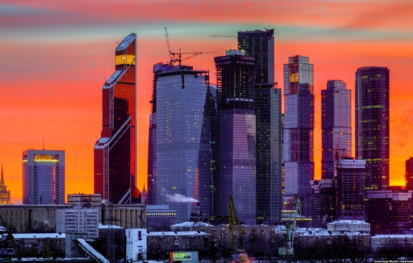 Picture night, Sunset, The sky, Winter, View, Wallpaper, Moscow, Wallpaper, Moscow-City, Federation, OKO, Tower 2000, Eurasia, …