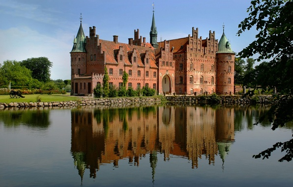 Picture summer, the sky, grass, water, trees, house, reflection, castle, shore
