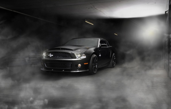 Picture light, smoke, Mustang, Ford, Shelby, GT500, Mustang, pavers, convertible, muscle car, Ford, Blik, muscle car, ...