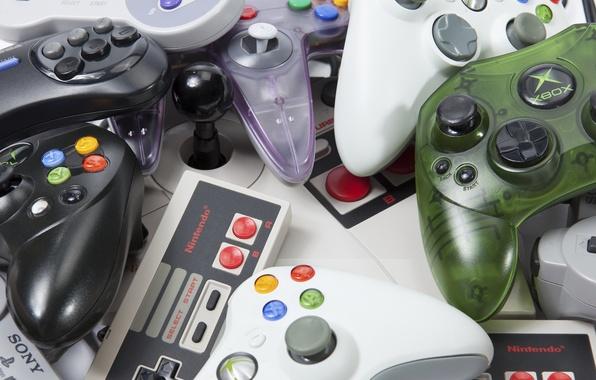 Photo wallpaper plastic, retro, buttons, controls consoles, different companies