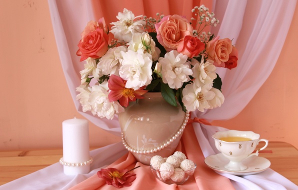 Picture tea, roses, candle, necklace, candy, fabric, still life