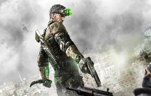 Picture clouds, gun, weapons, home, shot, knife, machine, agent, terrorist, equipment, sleeve, Sam Fisher, Sam Fisher, …