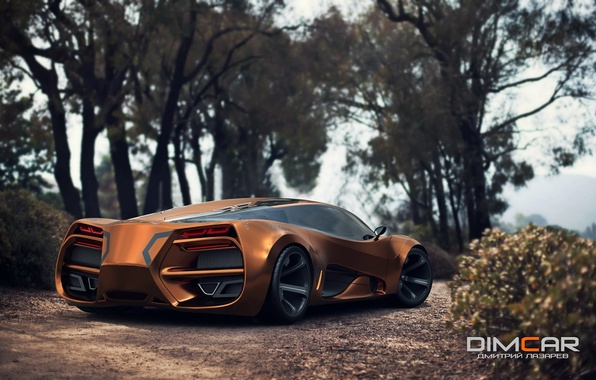 Picture Concept, Car, Lada, Gold, 2014, Rear, Raven, by Dmitry Lazarev