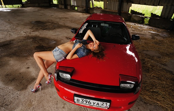 Picture machine, girl, Toyota, red, jdm, Toyota, celica, Japanese, Celica, T18, mole rat
