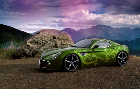 Photo wallpaper rainbow, rays, mountains, car, airbrushing, Photoshop, tuning, stone, the sky, sports