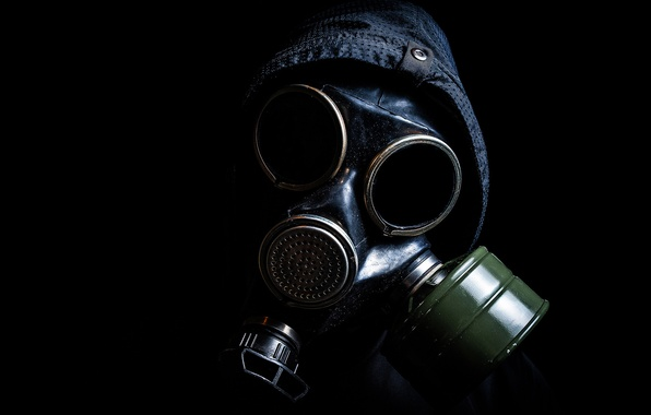 Picture jacket, hood, gas mask, male