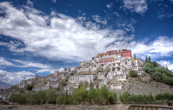 Picture India, Buddhism, India, the thikse monastery, Thikse Monastery