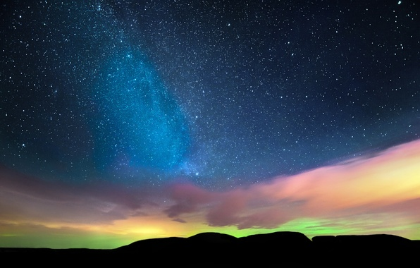 Picture the sky, stars, clouds, night, Northern lights, horizon