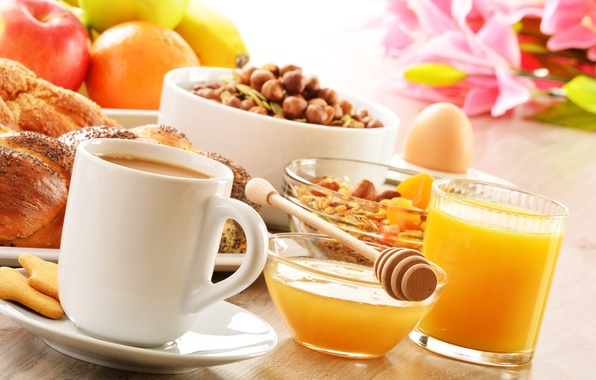 Picture coffee, food, Breakfast, cookies, juice, honey, spoon, Cup, fruit, nuts, saucer, cakes, buns, muesli, orange, …