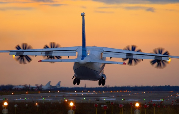 Picture sunset, landing, the an-70