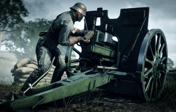 Picture war, the game, soldiers, gun, Electronic Arts, Battlefield 1