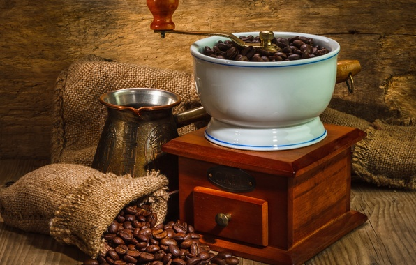 Picture wall, coffee, bags, wood beads, machine for grinding coffee