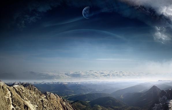 Picture clouds, landscape, mountains, planet, view, art, A Dreamy World