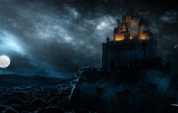 Picture night, the city, rock, castle, the moon, art, fortress