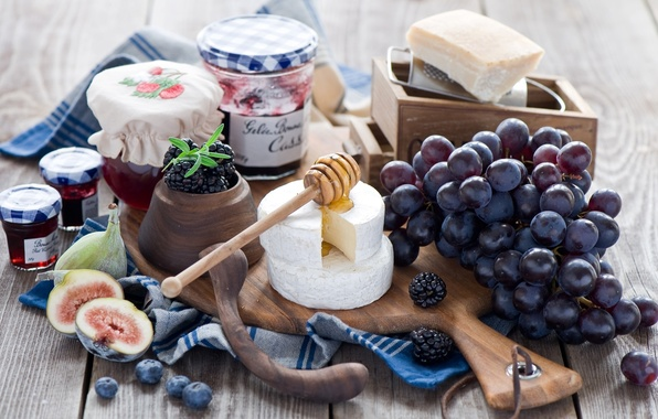 Picture berries, cheese, blueberries, grapes, bunch, jars, spoon, Board, honey, BlackBerry, jam, jam, figs, Anna Verdina